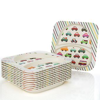 Tiny Dining Children's Bamboo Fibre Dining Plate - Voitures - Pack de 12