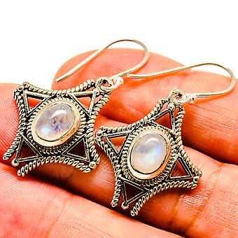 "Rainbow Moonstone Earrings 1 1/2"" (925 Sterling Silver)  - Handmade Boho Vintage Jewelry EARR406710"