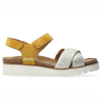 Women's Mephisto Mobils Tamia Yellow and Silver Sandals