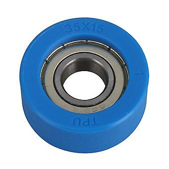 35x15mm PU 6001 Ball Bearing Flat Guide Wheel Pulley 12mm Hole