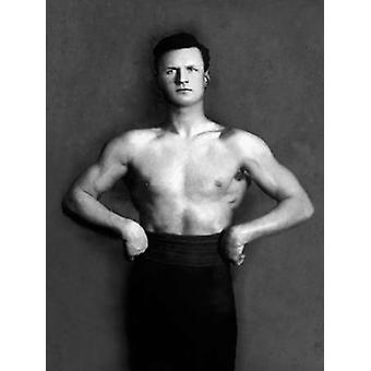 Bodybuilder in Pants with Bared Torso Poster Print by Vintage Muscle Men