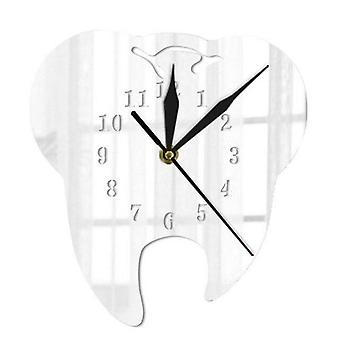 Mirror Effect Laser Cut Tooth Shape Wall Clock