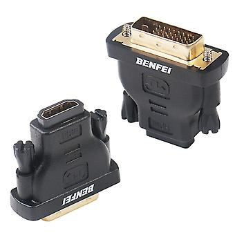 Dvi to hdmi, benfei bidirectional dvi (dvi-d) to hdmi male to female adapter with gold-plated cord 2