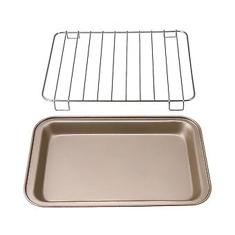 2 Pieces Medium Gold Nonstick Bakeware with Square Silver Grill