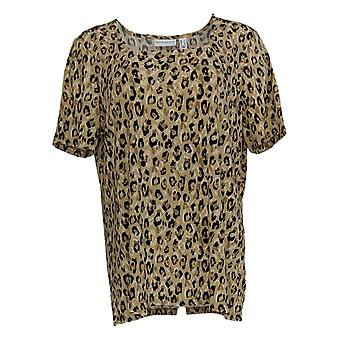 Susan Graver Women's Top Square Neck Knit Animal Print Beige