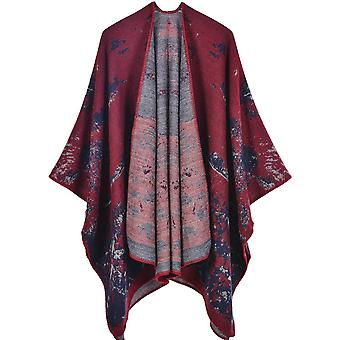 Women's Autumn And Winter Large Size Vegetation Red Warm Scarf Blanket Shawl