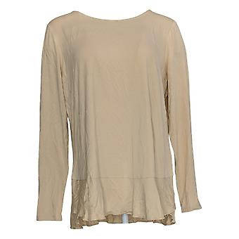Linea Door Louis Dell'Olio Women's Top Soft Peplum Knit Beige A302559