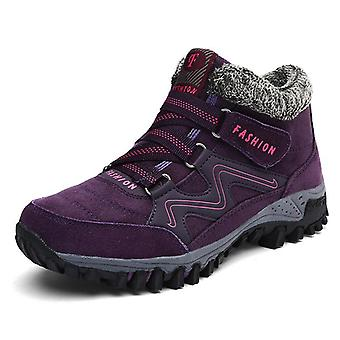 Winter Leather Warm Thick Plush Snow Boots Waterproof Non-slip Lady Shoes