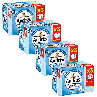 4 x 120 Andrex torkar klassisk ren bomull färsk fuktig flashbar toalettvävnad