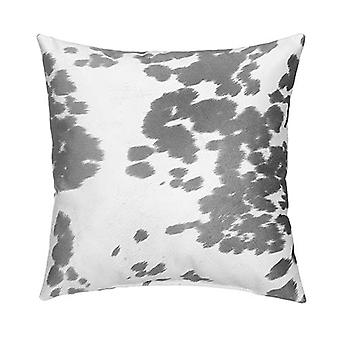 """Faux Cowhide Sueded Square Pillow 18"""" X 18"""", Grey"""