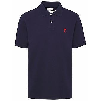 Ami E21hj207760410 Men'camisa polo de algodão azul