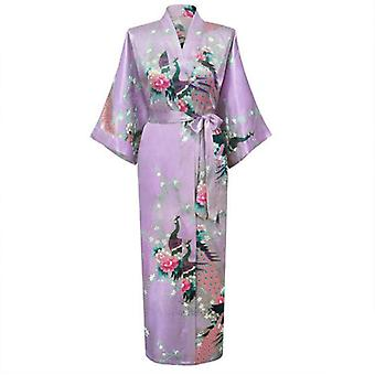 Lange Robe Print Blume Pfau Kimono Badekleid Braut Sleepwear