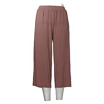LOGO By Lori Goldstein Women's Pants Pull-On Wide-Leg Crop Brown A350604