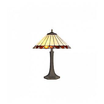 Lámpara De Mesa Tiffany Calais 2 Bombillas ámbar 40 Cm