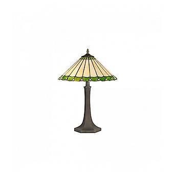 Lámpara De Mesa Tiffany Calais 2 Bombillas Verde