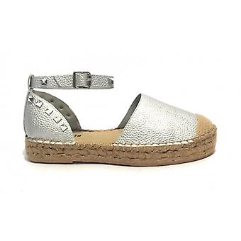 Women's Gold&gold Sandal Bottom Rope In Ecopelle Silver With Studs Ds19gg34