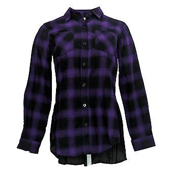 Belle By Kim Gravel Women's Top Ombre Plaid Woven Shirt Purple A293695
