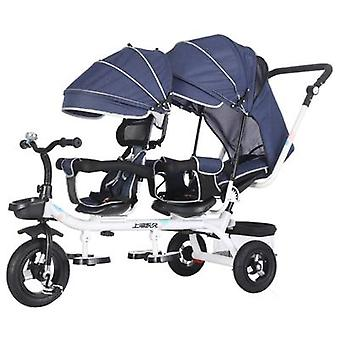 Twin Baby Stroller's Tricycle, Double Seat Bicycle Travel Umbrella