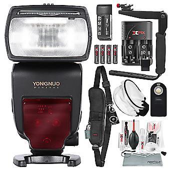 Velocidad ttl inalámbrica Yongnuo yn685 para cámaras nikon con difusor y soporte flash, correa dslr, kit de limpieza xpix y paquete de lujo