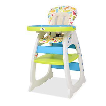 vidaXL 3-في-1 كرسي عالية قابلة للتحويل مع الطعام المجلس الأزرق والأخضر