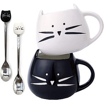 2 Pack Cat Coffee Mugs-Ceramic Cute Cat Coffee Mugs and Cat Spoons Set for Women Wife Mum Girl