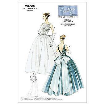 Vogue Coser Patrón 8729 Misses Vintage Vestido 1956 Talla 14-20 E5 Sin cortar