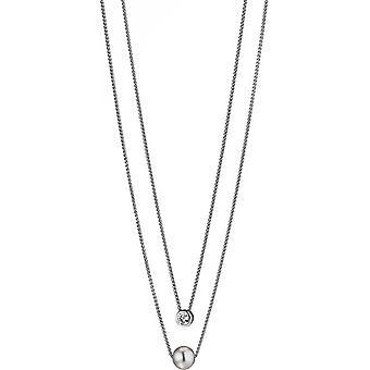 Collana Adriana Pearl 2 file Bianco d'acqua dolce 9-10 mm Cubic Zirconia Argento rodiato placcato 45 cm S7