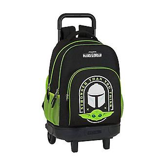 School Rucksack with Wheels Compact The Mandalorian Black Green