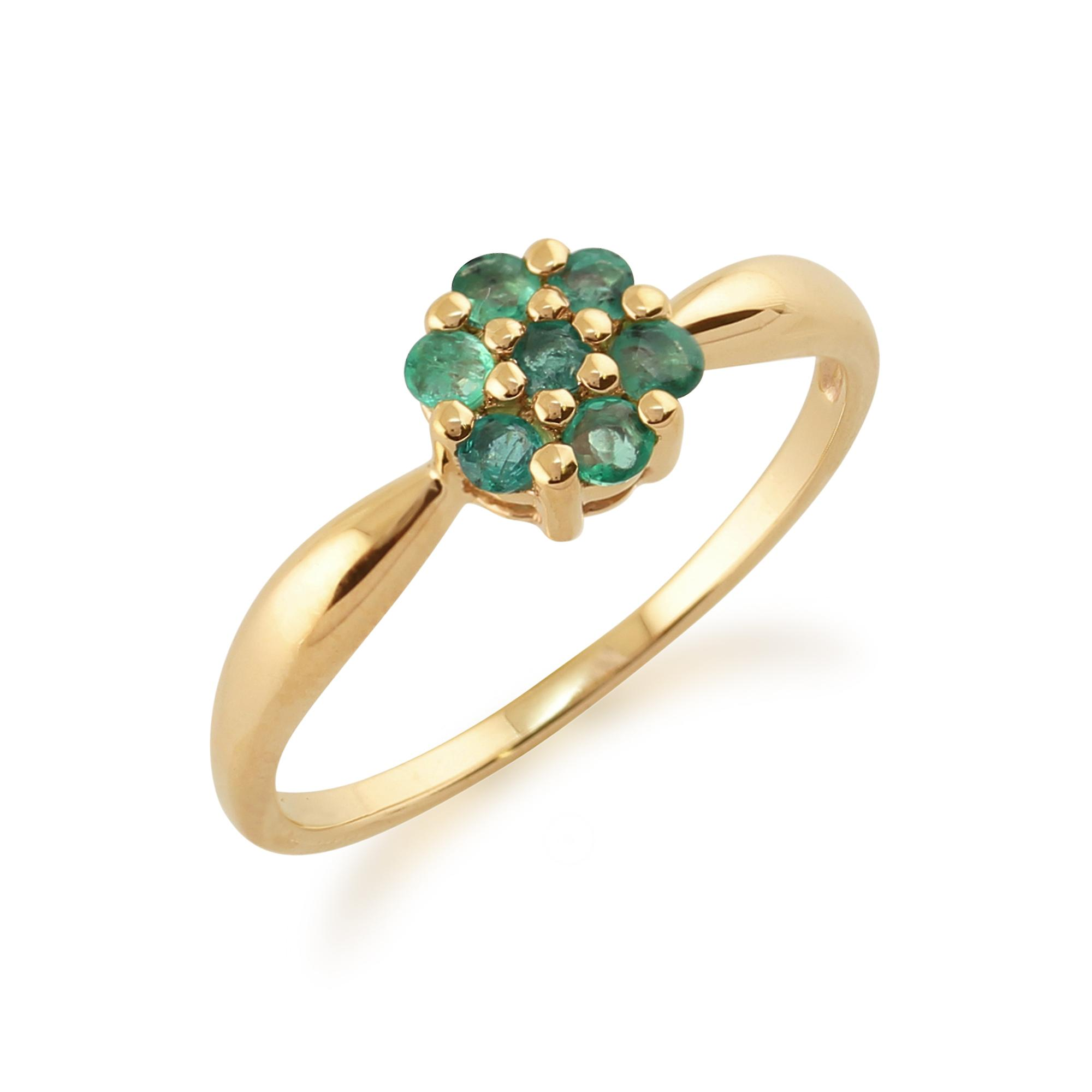 9ct Yellow Gold 0.30ct Natural Emerald Floral Cluster Style Ring