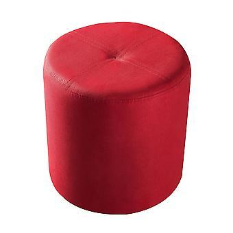 Diseños de Pilaster - Taburete Otomano Redondo (Microfibra Roja)
