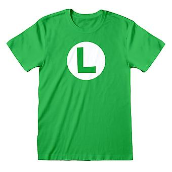Super Mario Mens Luigi Logo T-Shirt