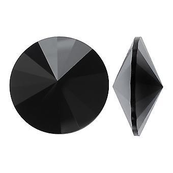 """קריסטל סברובסקי, #1122 ריבולי אבנים מהודרות 14 מ""""מ, 2 חלקים, Jet Hematite Unf"""