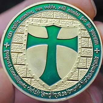 Templier de Chevaliers - pièce verte large bouclier de croix