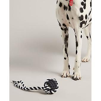 Joules Rubber And Rope Dog Toy - Navy/white
