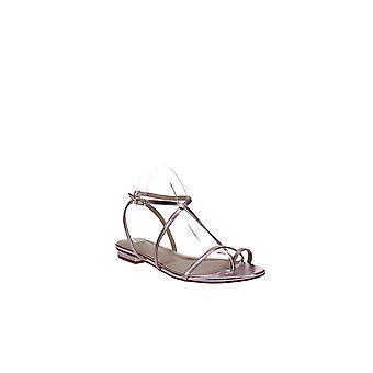 Via Spiga   Calandre Flat Metallic Leather Sandals