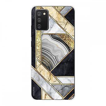 Copertina per Samsung Galaxy A02s Morbido Silicone 1 Mm, Marmo Nero e Oro