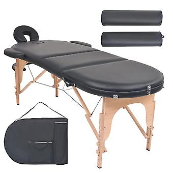 vidaXL Massageliege Tragbar mit 2 Lagerungskissen 4 cm Polsterung Oval