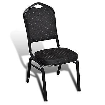 vidaXL sillas de comedor 10 piezas. tela Negro