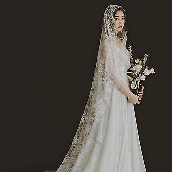 الدانتيل حافة Appliqued الزفاف الحجاب الأبيض العاج