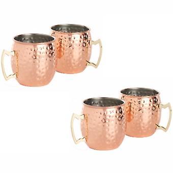 Kabalo Koppar Moskva Mule Mugg Set av 4 Cocktail Barrel Style Tankard Cup Kitchen Barware