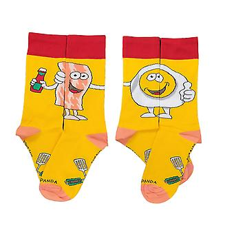 Bacon and Eggs - The Ultimate Partnership Sock (Left / Right) from the Sock Panda (Adult Small)