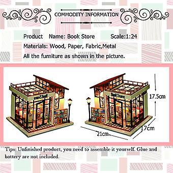 子供のための家具木製の家のミニチュアミニチュア人形屋は、新年のクリスマスギフトブックストア