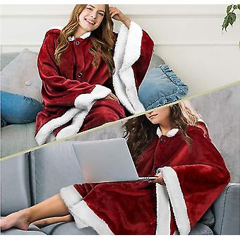 Ylis kokoinen pehmeä sherpa fleece hupullinen lämmin heittää viitta taskut naisille (punainen)