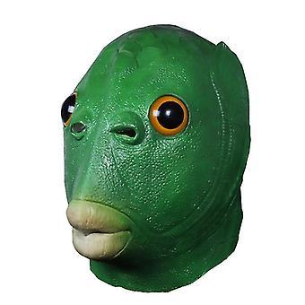 ירוק דגים ראש בעלי חיים לטקס כיסוי ראש מסכה פרוותי כפפות ליל כל הקדושים חג המולד Cosplay תלבושות