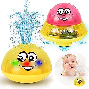 Bath Toys Kids, 2 az 1-ben indukciós spray víz játék LED-es light musical (piros)