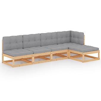 vidaXL 5 pezzi. Set da salotto da giardino con cuscino in legno massello di pino