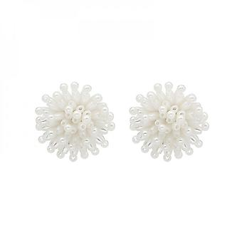 Silver Needle Exaggerated Personality Fireworks New Fashion Baroque Pearl Earrings