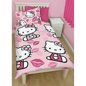Hello kyss Kitty barn flickor reversibel enda påslakan sängkläder