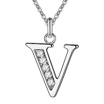 (V) Högkvalitativt silverpläterat alfabetshalsband Inledande 26 bokstäver Personligt charmhänge