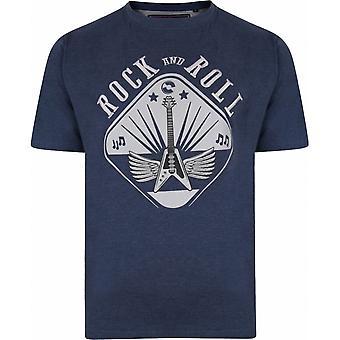 KAM Kam Mens Big Size Rock And Roll Guitar Print Cotton Crew Neck T Shirt